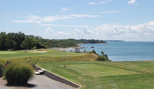 STEVE ROSSIN PHOTO | The 16th hole at Island's End Golf Course in Greenport overlooks the Long Island Sound.