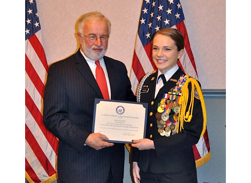 Cadet Commander Jamie Grigonis receiving a Congressional Nomination to the Merchant Marine Academy from Congressman Tim Bishop. She has also earned a full four-year Army ROTC scholarship to Fordham University. (Credit: Joyce Grigonis, courtesy)