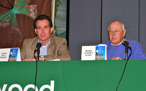 JENNIFER GUSTAVSON FILE PHOTO | Senator John Flanagan, left, and Senator Ken LaValle at the annual Longwood Regional Legislative Breakfast in February. Mr. Flanagan announced Friday he will hold a series of hearing throughout Long Island to review the effectiveness of recent state education reforms.
