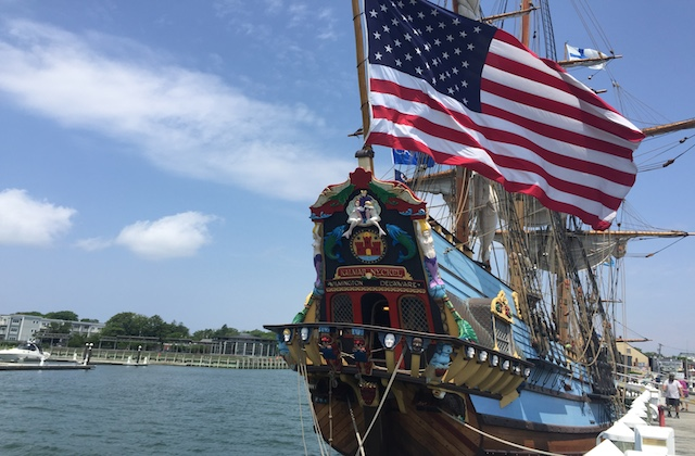 The Kalmar Nyckel arrived in Greenport one day ahead of schedule Wednesday. (Credit: Skye Gillispie)
