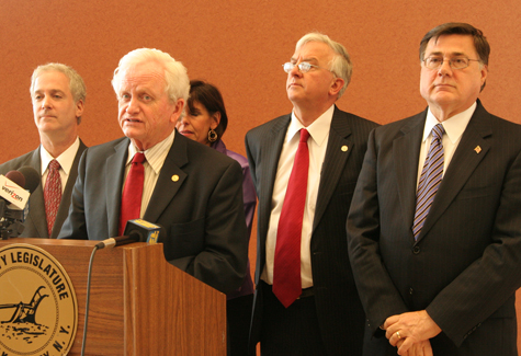 The Suffolk County Legislature proposed a $100 million budget deficit reduction plan Tuesday.