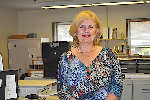 Senior administrative assistant Linda Cooper talks about her 30 years working for the Town of Southold. (Cyndi Murray photo)