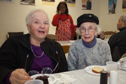 Renee Carey and Edna Quatroche enjoying dessert.