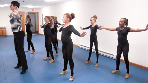 MAIN STAGE DANCE ACADEMY COURTESY PHOTO | Lucille Naar-Saladino teaching in her new space above her Greenport studio. The owner of Main Stage Dance Academy expanded her business space in order to offer more classes and new programs.