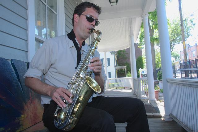 New Horizons band leader Matthew Gardiner plays his saxophone at East End Arts in Riverhead. (Credit: Barbaraellen Koch)