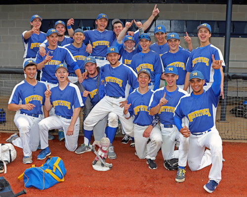 Mattituck's players kept their celebrating relatively subdued after winning their third Long Island championship in five years on Friday. (Credit: Daniel De Mato)