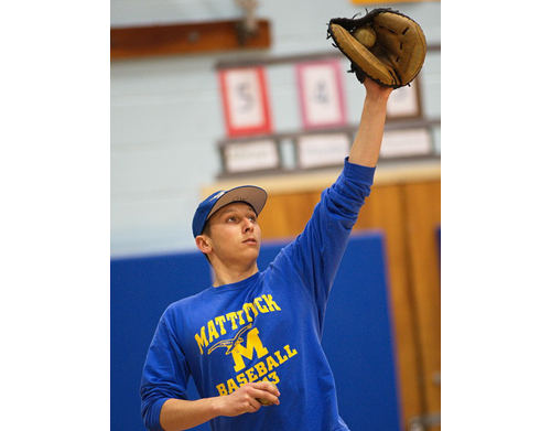 Mike Onufrak, a sophomore, looks likely to be Mattituck's catcher on Opening Day. (Credit: Garret Meade)