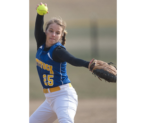 Lisa Angell came within one out of a perfect game. The Mattituck junior delivered a career-high nine strikeouts in her one-hit shutout of Stony Brook. (Credit: Garret Meade)