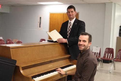 Mattituck High School music teacher Jacob Fowle, right, and principal Shawn Petretti in the chorus room where the (Credit: Jen Nuzzo)