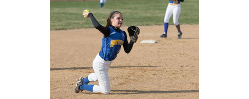 Mattituck shortstop Ashley Chew makes a throw from her knee during Tuesday's game in Center Moriches. (Credit: Katharine Schroeder)