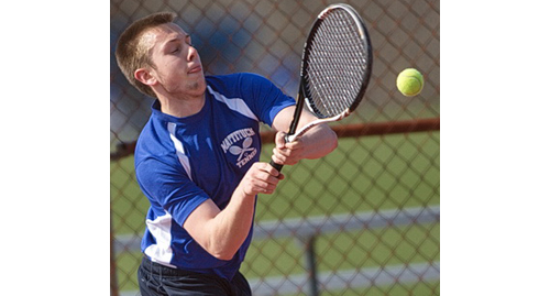 On a day when Mattituck was missing half of its lineup players, Andrew Young came through with a win at third singles. (Credit: Garret Meade)