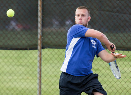 Mattituck's only team point came from Andrew Young, a 4-6, 7-6 (11-9), 10-4 winner over Half Hollow Hills East's Sandy Greenberg. (Credit: Katharine Schroeder, file)