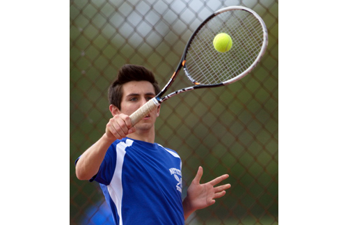 Parker Tuthill did his part as Mattituck swept the four singles matches against Longwood. He scored a 6-0, 6-0 win over Terence Lin. (Credit: Garret Meade)