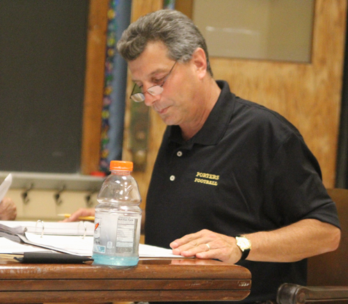 JENNIFER GUSTAVSON PHOTO | The Greenport school board approved Superintendent Michael Comanda's retirement request at Wednesday night's meeting.