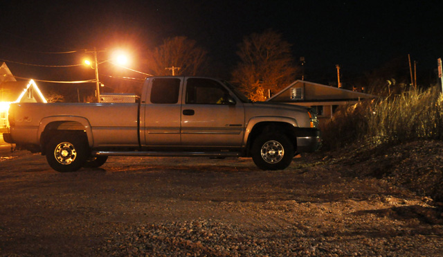 Michael O'Brien's chevy pickup truck was the only vehicle in the first row of parking spots at the Cross Sound Ferry terminal in Orient Thursday night. (Credit: Grant Parpan)
