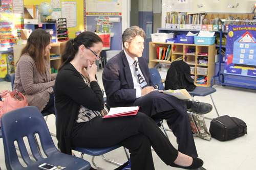 From left, New Suffolk school district's curriculum writer Martha Kennelly with Cutchogue-based attorney Frank Blangiardo at Tuesday's school board meeting. (Credit: Jen Nuzzo)