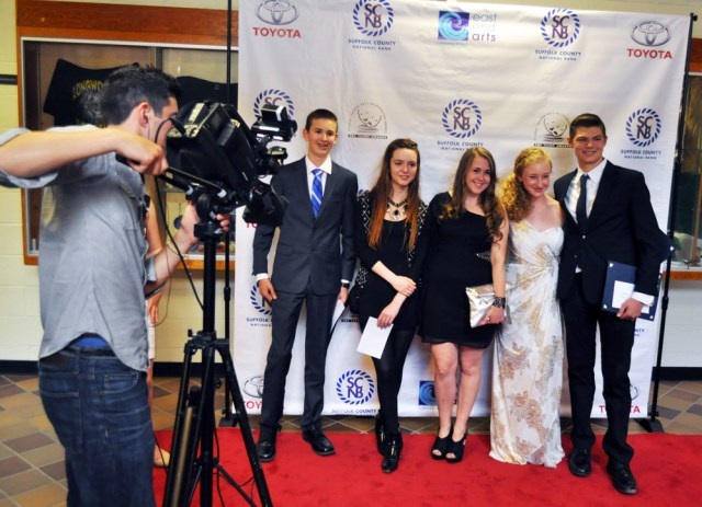 Southold High School nominees are interviewed for MyLITV on Verizon Fios1. (Credit: Grant Parpan)