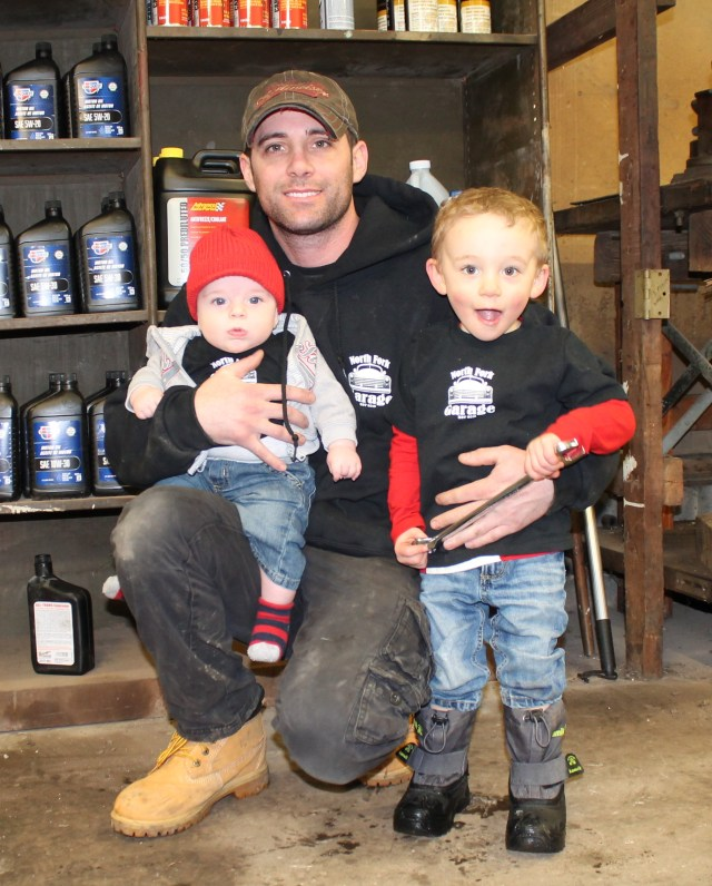 Todd Davey with his two sons Wade and Cole. (Credit: North Fork Garage)