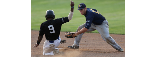North Fork second baseman Brad Witkowski tags out Southampton's Donovan May, who tried to steal second base in the first inning. (Credit: Daniel De Mato)