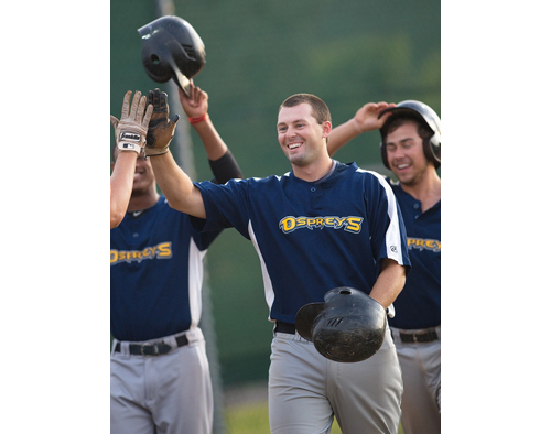 GARRET MEADE PHOTO | Mike Hayden had a lot to smile about after his three-run homer gave North Fork a 7-1 lead in the second inning. He finished Game 1 of the finals with six runs batted in.