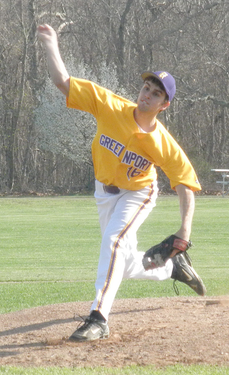 JOE WERKMEISTER PHOTO  |  Greenport starter Mark Pagano threw a second complete game in as many tries against Pierson to lead the Porters to a third straight win Monday.