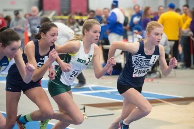 McGann-Mercy junior Meg Tuthill takes off at the start of the 1,000. (Credit: Robert O'Rourk)