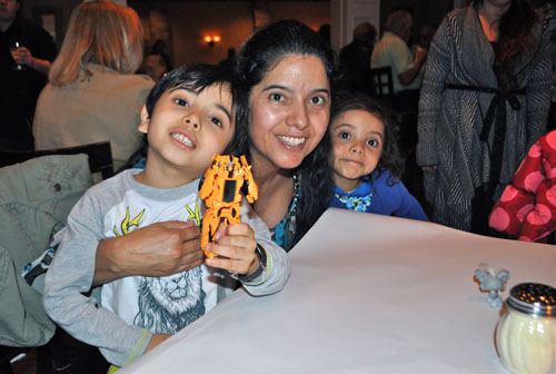 Michelangelo's manager Felipe Rodriguez's wife, Sofia, their son, Felipe, 5, and their daughter, Valentina, 3, attended a Tuesday evening fundraiser benefiting Mr. Rodriguez, who has a rare form of lymphoma. (Credit: Rachel Young)