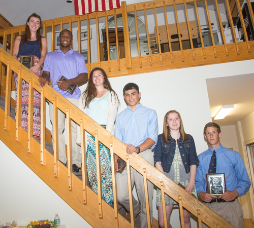 The Suffolk Times Athletes of the Year for 2013-14 are: (from left) Mattituck's Shannon Dwyer, Gene Allen, Greenport's