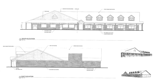 An architect's drawing of the front and side of the proposed retail building on Main Road in Cutchogue (Credit: Town of Southold records)