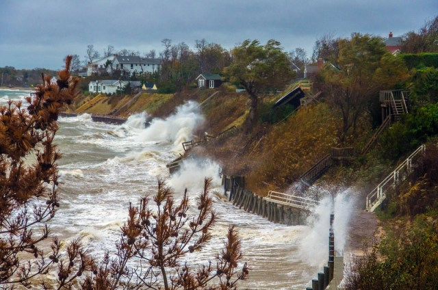 The shoreline along the Long Island Sound in Southold during Hurricane Sandy in October 2012. (Credit: JP Stanisic)