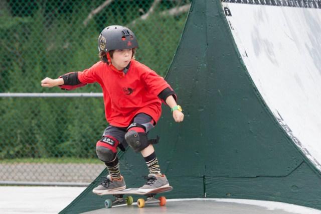 Logan Kirshak, 8, of Bellport at Greenport Village's skate park event Sunday. (Credit: Katharine Schroeder photos)