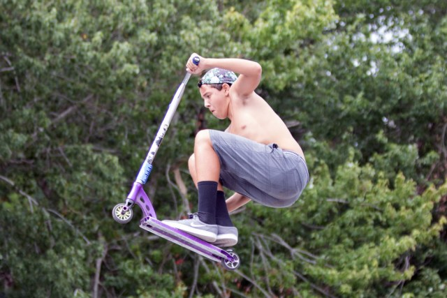 Christian Romero, 14, of Greenport catches some air.