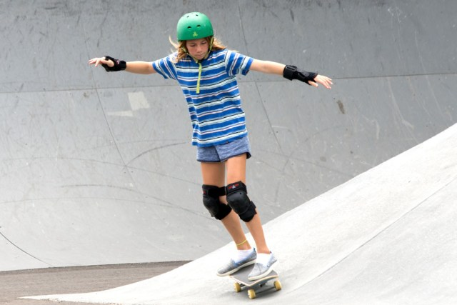 Grace Cleary, 11, of Southold practices her moves.