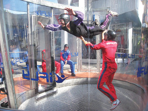 COURTESY PHOTO | People skydiving in a vertical wind tunnel.