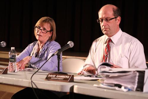 JENNIFER GUSTAVSON PHOTO | Southold school board president Paulette Ofrias, left, and Superintendent David Gamberg at Wednesday night's budget workshop