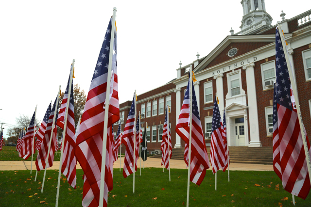 Southold High School American flags