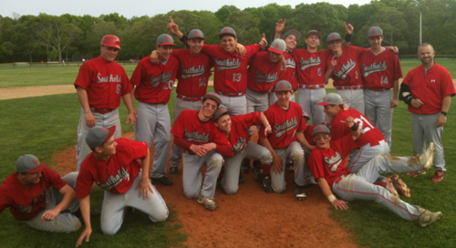Southold's players turned a team photo into a fun photo after capturing their first county championship since 2003. (Credit: Bob Liepa)