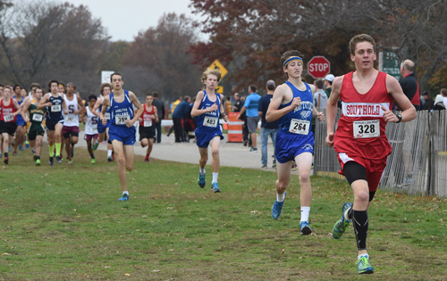 Southold junior Owen Klipstein led the pack early before finishing second in the Class D race at the Section XI Championships on Friday. (Credit: Robert O'Rourk)