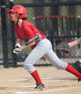 GARRET MEADE PHOTO   Irene Raptopoulos of Southold/Greenport watching the single she slapped to start the game.