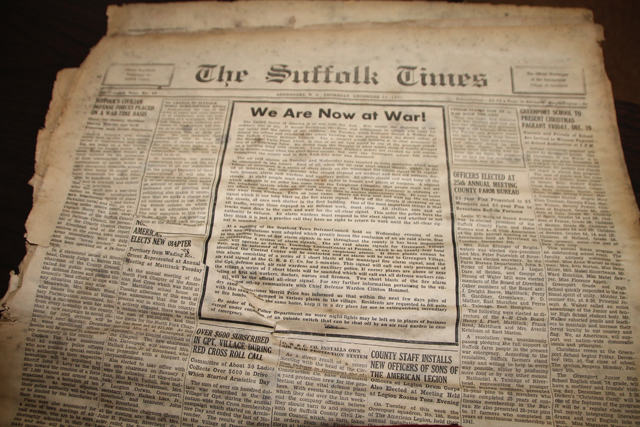 The front page of the Dec. 11, 1941 issue of The Suffolk Times.