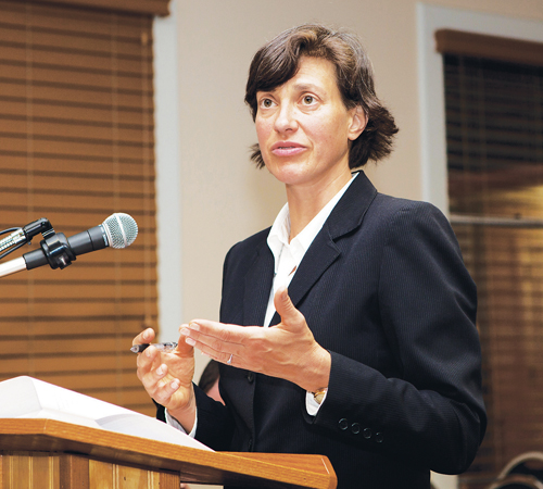 KATHARINE SCHROEDER FILE PHOTO  |  Southold planning department director Heather Lanza describes the town's plan for Plum Island earlier this year. The town later passed the first-ever zoning regulations on the island.