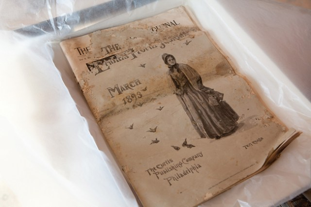 The Ladies Home Journal found inside a kitchen wall. It is believed to have been placed their during an 1893 expansion of the kitchen. (Credit: Katharine Schroeder)