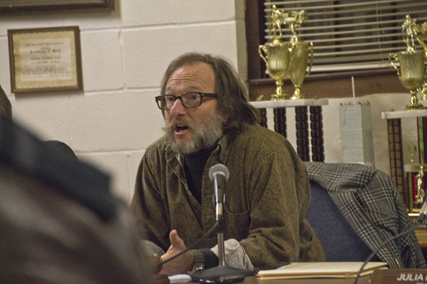 Greenport Mayor David Nyce calls for order at Monday night's Village Board meeting. (Credit: Paul Squire)