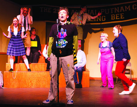 Michael Hipp, as Leaf Coneybear, spells the names of South American rodents in a scene from 'The 25th Annual Putnam County Spelling Bee' at North Fork Community Theatre in Mattituck. The musical continues through March 20.