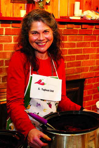 Priscilla Lewis of Mattituck took first place with her 'Tugboat Chili' at the Chili Cook-Off held March 12 at First Universalist Church of Southold. The event was a fundraiser for the Maureen's Haven homeless outreach program.