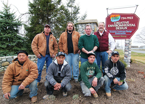 Creative Environmental Design owner David Cichanowicz, back row right, with staff.