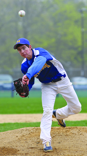 GARRET MEADE PHOTO     Mattituck lefty Steve Ascher tosses a two-hitter in the Tuckers' win at Bayport Tuesday.