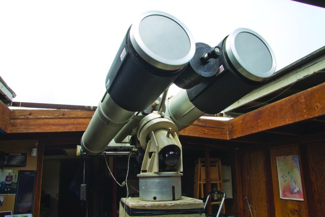 """Alarico """"Rico"""" Verticchio's giant refracting telescope — a 'monster' pair of binoculars — has been donated to the Custer Institute and Observatory in Southold (Credit: Paul Squire)"""