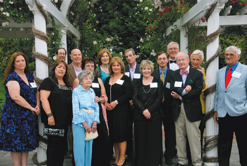 North Fork Community Theatre past presidents and family representatives at the June 17 'Building on Tradition' gala at Vineyard Caterers to benefit the NFCT building fund. Current president Mike Hipp is fifth from right.