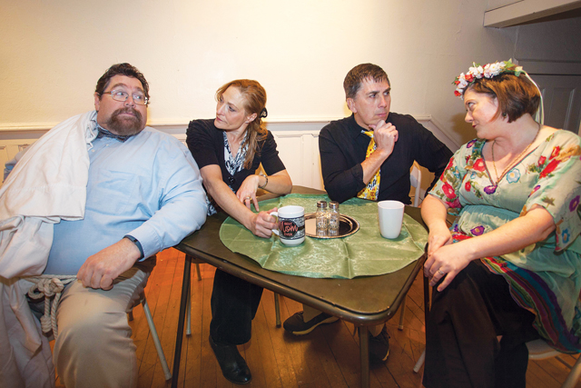 """Michael Horn as God, Susan Hedges as Mrs. God, Bill Kitzerow as Satan and Sarah M. Storjohann as Mother Nature in """"The Supreme Beings."""" (Credit: Katharine Schroeder)"""